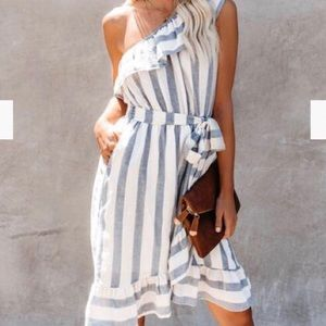 Listicle Ruffle Blue & White One Shoulder Dress